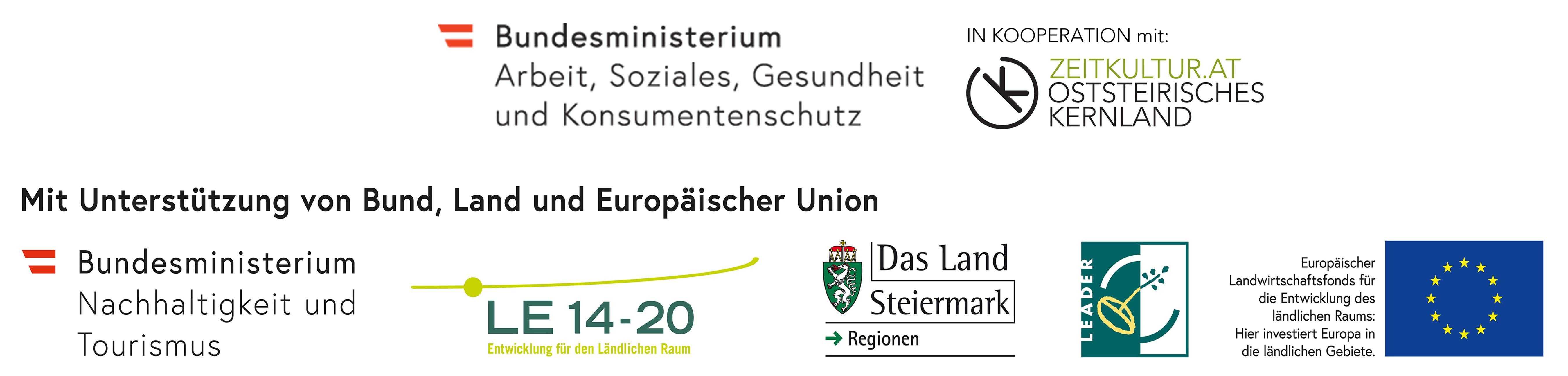 Mit Unterstützung von Bund, Land und Europäischer Union (LEADER)